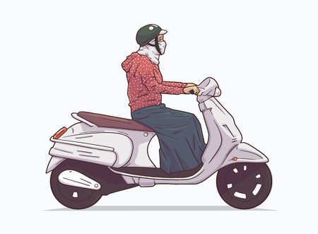 Isolated illustration of woman riding moped, motorcycle from side view
