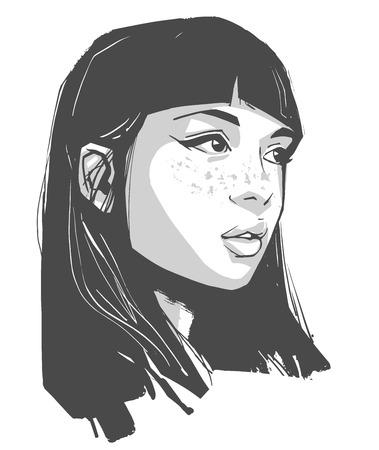Portretillustratie van mooi meisje die make-up dragen Vector Illustratie
