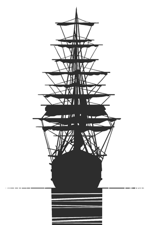 Black and white illustration of old ship sailing from back view