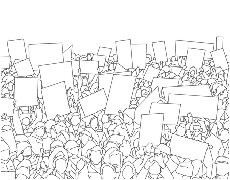 Illustration of large crowd of people demonstrating with blank signs