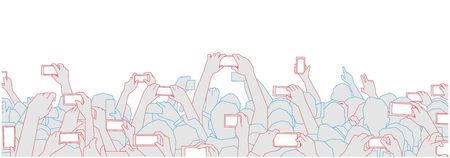 Illustration of concert audience cheering and recording with phones at live festival party performance.