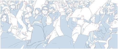 Illustration of crowd protest, demonstration in color Illustration