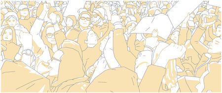 Illustration of crowd protest, demonstration in color  イラスト・ベクター素材