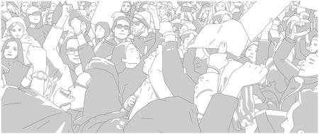 Illustration of crowd protest or demonstration Иллюстрация
