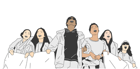 illustration de jeunes ingénieurs américains contre contre contrôle du pistolet