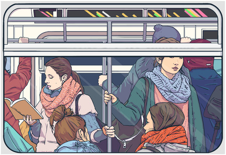 Illustration of crowded metro subway passenger car