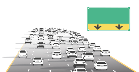 Illustration of freeway highway motorway traffic with blank signs