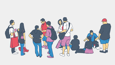 Illustration of people standing and sitting in line