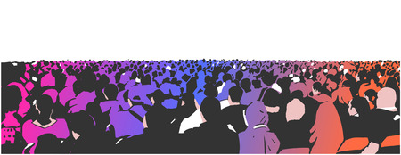Illustration of large sitting audience in color  イラスト・ベクター素材
