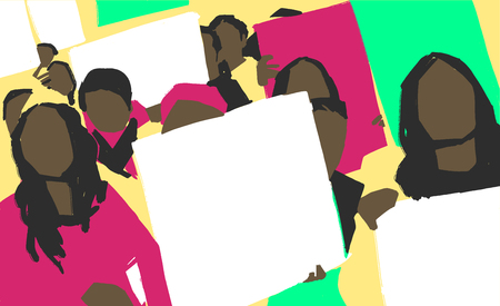 Stylized illustration painting of african women protest march with blank signs in color Vetores