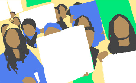 Stylized illustration painting of south american women protest march with blank signs in color