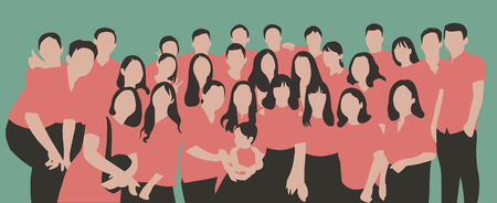 Flat illustration of young people, friends, classmates, students, colleagues, family posing for group photo Çizim