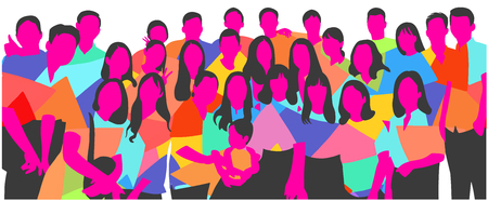 Colorful illustration of a group of men, women and a child