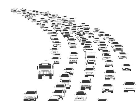 Illustration of rush hour traffic jam on freeway in black and white Ilustração