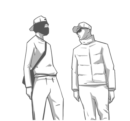 Isolated illustration of South London youth in mask and street wear