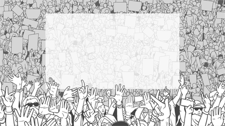 Illustration of dertailed crowd protest demonstration with large blank banner Imagens - 97488059