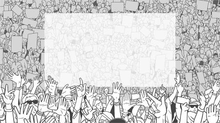 illustration de la foule de protestation de protestation avec grosse bannière blanche