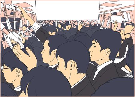 Illustratie van overvolle metro, metrokar in spitsuur