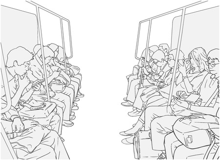 Ilustracja osób korzystających z transportu publicznego lub pociągu, czarno-białe wektor. Ilustracje wektorowe