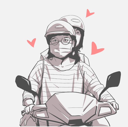 Two woman on motorcycle illustration