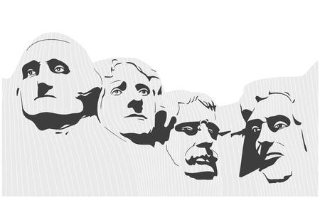 Illustratie van het Nationale Gedenkteken van Mount Rushmore in zwart-wit