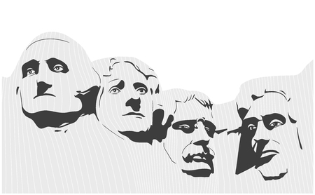Illustration of Mount Rushmore National Memorial in black and white