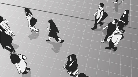 Illustration of people commuters walking in urban public transport station platform Stock Illustratie