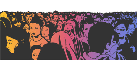 Drawing of large mixed ethnic city crowd Vettoriali