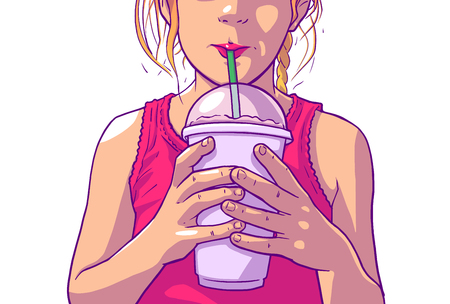 Illustration of young girl with blonde hair and pink dress drinking juice, soft drink from plastic cup with straw  イラスト・ベクター素材