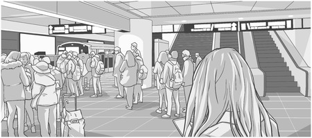 Illustration of busy subway, metro, underground, train station with people waiting, standing in line on platform and boarding car
