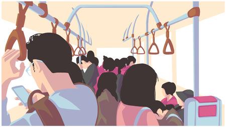 Ilustracja osób korzystających z transportu publicznego, autobusu, pociągu, metra, metra