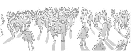 Illustration of large city crowd walking in perspective in black and white grey scale Çizim