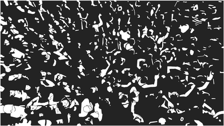 Illustration of large crowd of people at live event in black and white Illustration