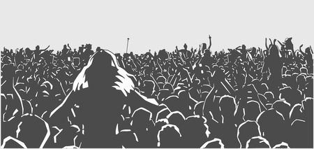 Illustration of large crowd of people at live event in black and white Ilustrace
