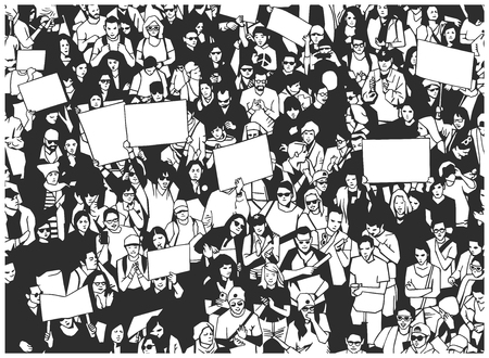 Illustration of large protesting crowd with sings banners and flag.
