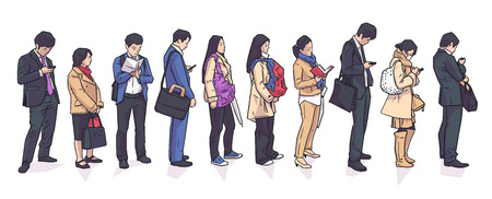 Illustration of people standing waiting in registration shopping public transport line