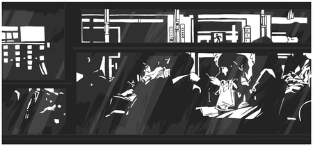 Illustration of late night bus public transport with passengers commuters