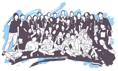Illustration de jeunes, amis, camarades de classe, étudiants, collègues, famille posant pour une photo de groupe
