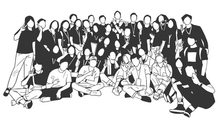 Illustration of young people, friends, classmates, students, colleagues, family posing for group photo 版權商用圖片 - 111674642