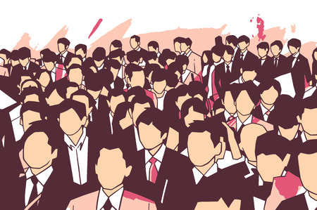 Stylized illustration of crowd of business men and women