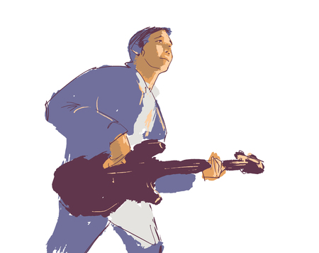 Illustration of young man playing guitar live on stage