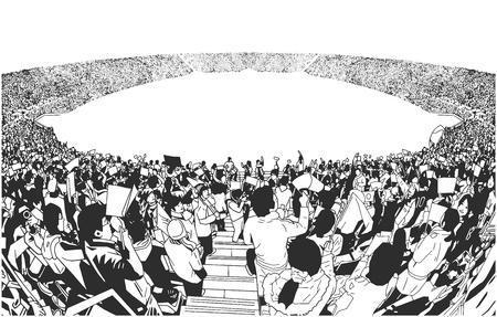 Ilustracja tłumu stadionu sportowego wiwatującego w czerni i bieli Ilustracje wektorowe