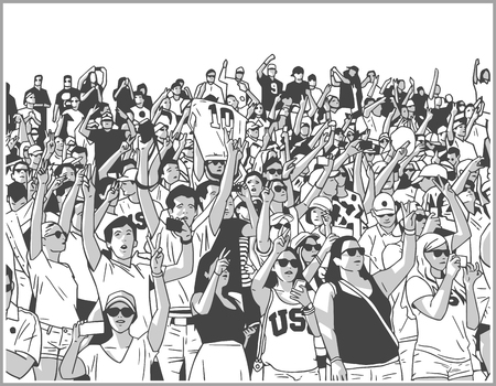 Illustration of sport stadium crowd cheering in black and white