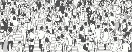 Illustration of large city crowd walking