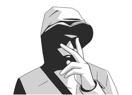 Illustration du jeune membre d'un gang à capuchon Londres