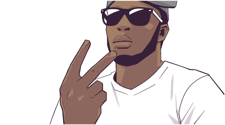 Illustration d'un jeune membre d'un gang noir Vecteurs