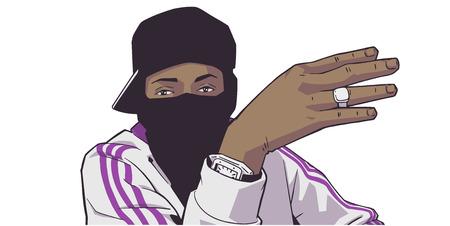 Illustration d'un jeune membre d'un gang noir