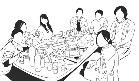 Illustration of multi ethnic people students having dinner party celebration in black and white