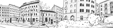 Illustration of European street architecture