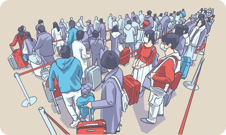 Illustration von Menschen, die in öffentlichen Verkehrsmitteln am Flughafen in der Schlange warten